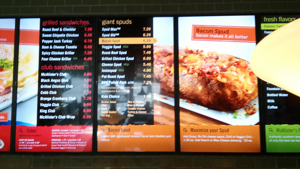 McAllister's Deli - Terrible UX Menu Board